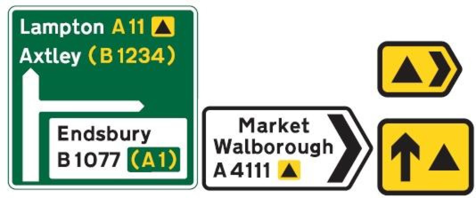 Riders and drivers should follow signs bearing the appropriate symbol