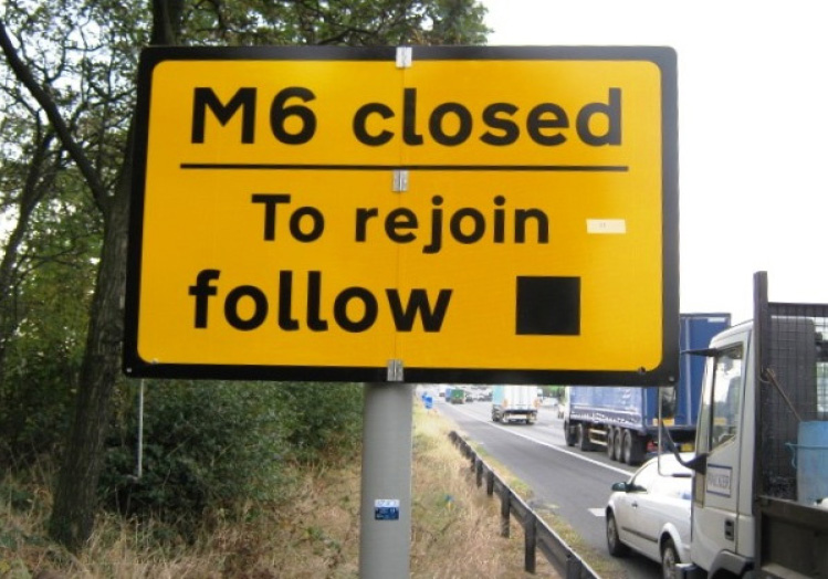 M6 closed sign on Motorway